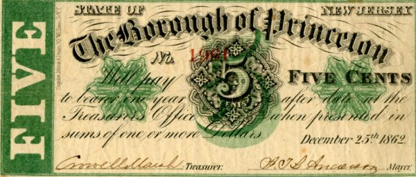Five cent note issued by Princeton Borough, 1862