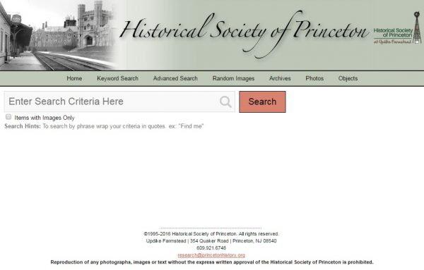 Digital Database – Historical Society of Princeton