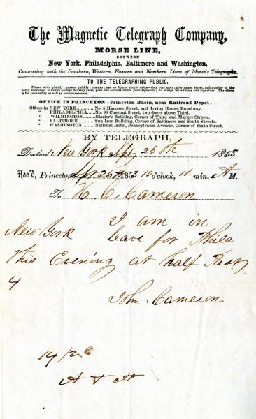Telegram received in Princeton telegraph office, 1853